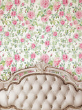 Ivory Tufted Headboard With floral Pattern Wall Backdrop - 6207 - Backdrop Outlet