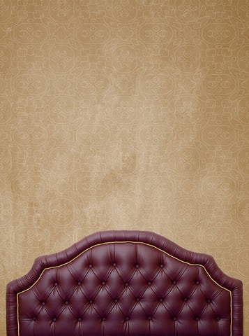 Maroon Wine Bed Tufted Headboard Printed Backdrop - 6209 - Backdrop Outlet