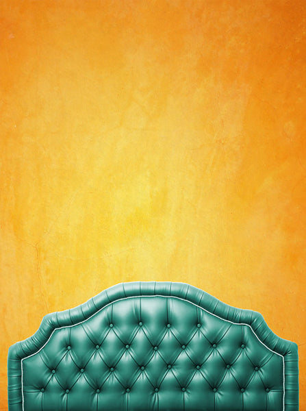 Green Bed Tufted Headboard With Sunset Wall Printed Backdrop - 6210 - Backdrop Outlet