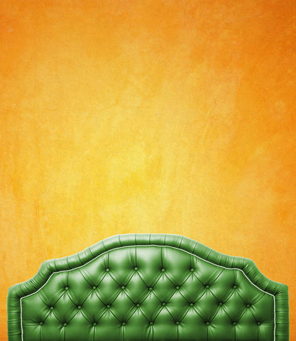 6211 Green Tufted Bed Headboard With Sunset Wall Printed Backdrop - Backdrop Outlet