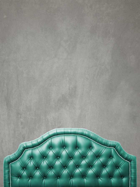 Teal Headboard With Grey Stone Wash Wall Printed Backdrop - 6213 - Backdrop Outlet