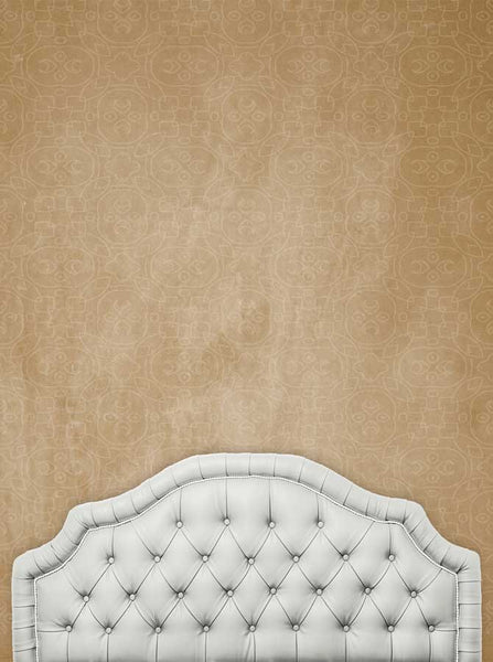 Ivory Headboard With Brown Pattern Stonewash Wall Background - 6214 - Backdrop Outlet
