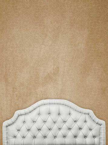 6214 Ivory Headboard With Brown Pattern Stonewash Wall Background - Backdrop Outlet