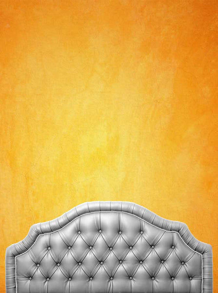 6215 Grey Headboard With Orange Sunset Stonewash Wall Backdrop - Backdrop Outlet