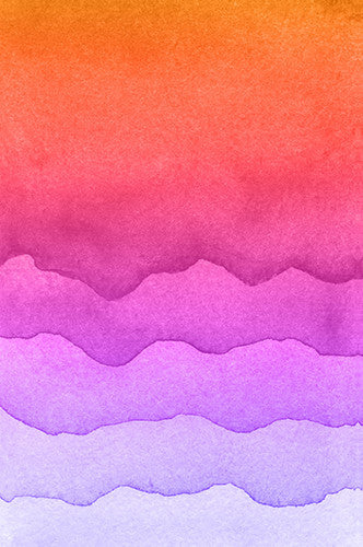 6220 Sunset Watercolor Look Waves Printed Backdrop - Backdrop Outlet