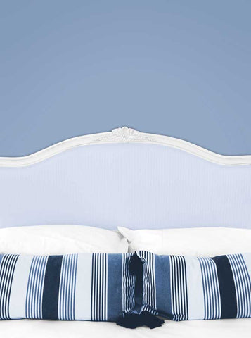 Bed Headboard with Pillows and Periwinkle Wall Printed Backdrop - 6240 - Backdrop Outlet