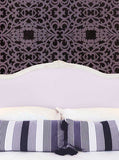 Bed Headboard with Pillows and Mauve Damask Wall Printed Backdrop - 6242 - Backdrop Outlet