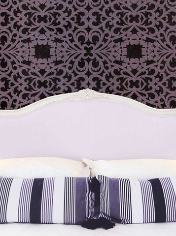 6242 Bed Headboard with Pillows and Mauve Damask Wall Printed Backdrop - Backdrop Outlet