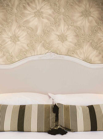 6243 Bed Headboard with Pillows and Fancy Damask Tan Wall Printed Backdrop - Backdrop Outlet