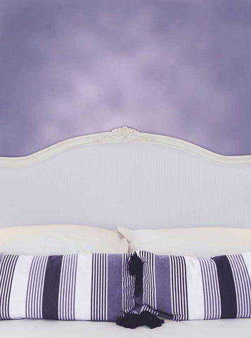 6246 Bed Headboard with Pillows and Purple Wall Printed Backdrop - Backdrop Outlet