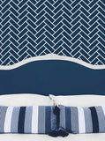Bed Headboard with Pillows and Navy Chevron Wall Printed Backdrop - 6248 - Backdrop Outlet