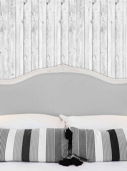 6249 Bed Headboard with Pillows and White Wood Wall Printed Backdrop - Backdrop Outlet
