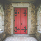 6252 Interior Stone Medieval Red Door Backdrop - Backdrop Outlet