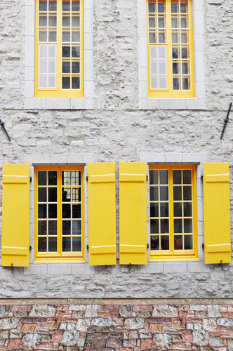 6260 Canary Yellow Shutter Window Stone Floor Backdrop - Backdrop Outlet