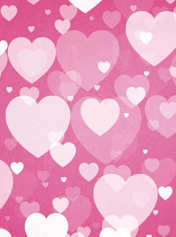 6268 Large White Hearts on Pink Collage Valentine Backdrop - Backdrop Outlet