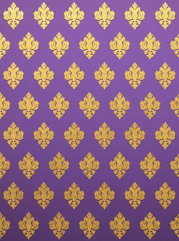 6271 Purle and Gold Damask Mardi Gras Backdrop - Backdrop Outlet