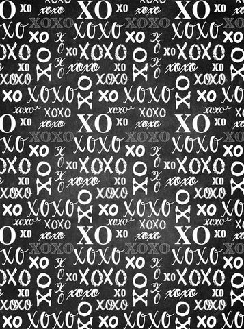 6272 Black and White XOXO Valentine Backdrop - Backdrop Outlet