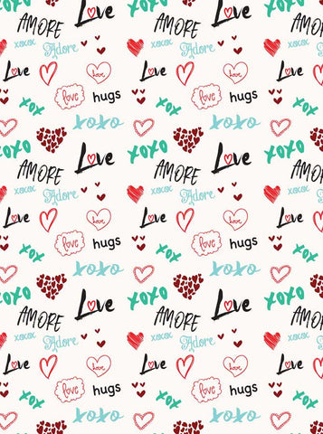 6273 Hearts and Love Sayings Valentine Backdrop - Backdrop Outlet