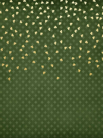 6277 Diamond Patterned Golden Clover Irish Backdrop - Backdrop Outlet