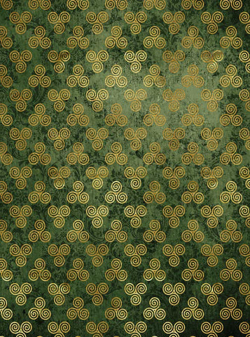 6278 Golden Celtic Pattern Green Damask St Patricks Backdrop - Backdrop Outlet