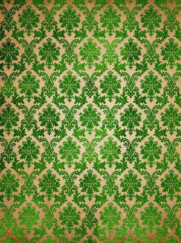6281 Grungy Green Damask on Brown Irish Backdrop - Backdrop Outlet