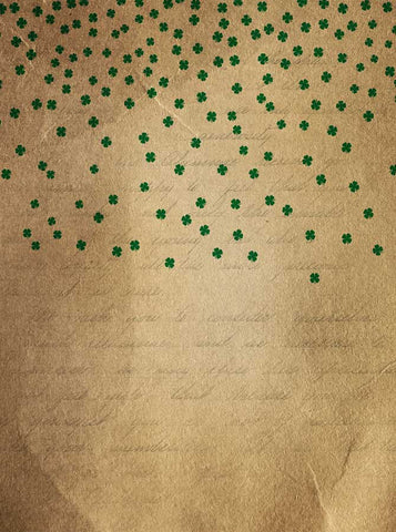 6283 Green Clovers Falling Paper Script Irish Backdrop - Backdrop Outlet