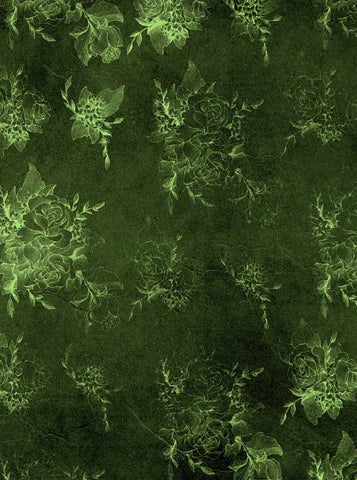 6287 Green Rose Flower Pattern on Cement St Patricks Backdrop - Backdrop Outlet
