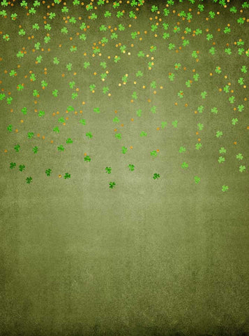 6288 Green Clovers Falling Gold Circles Irish Backdrop - Backdrop Outlet