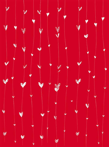 6290 Red Valentine's Day Hearts on Strings Backdrop - Backdrop Outlet