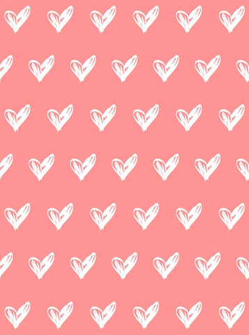 6291 Pink Background White Hearts Pattern Backdrop - Backdrop Outlet