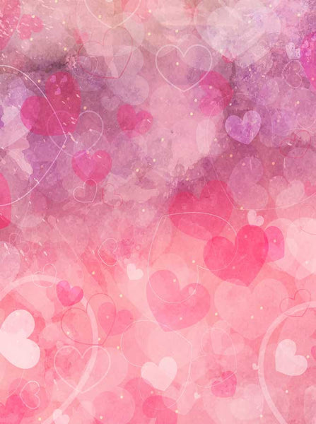Watercolor Hot Pink Hearts Backdrop - 6292 - Backdrop Outlet