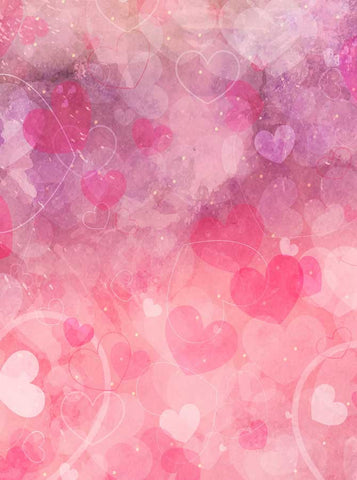 6292 Watercolor Hot Pink Hearts Backdrop - Backdrop Outlet
