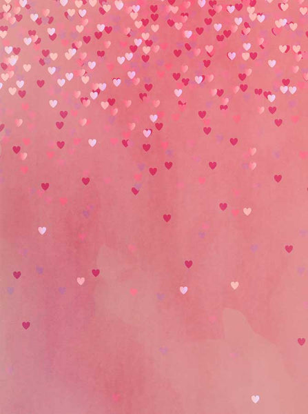 Valentine's Pink Raining Hearts Backdrop - 6293 - Backdrop Outlet