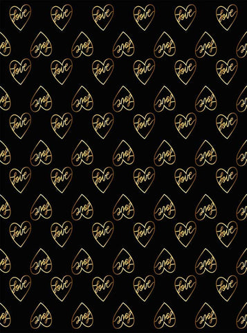6294 Love Gold Hearts Black Background Backdrop - Backdrop Outlet