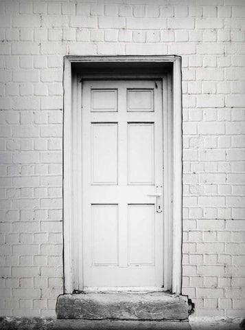 6315 White Brick Wood Door Backdrop - Backdrop Outlet
