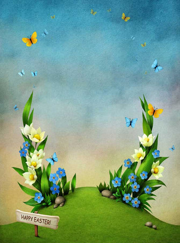 6326 Easter Scene Butterfly Sprouting Green Flower Backdrop - Backdrop Outlet