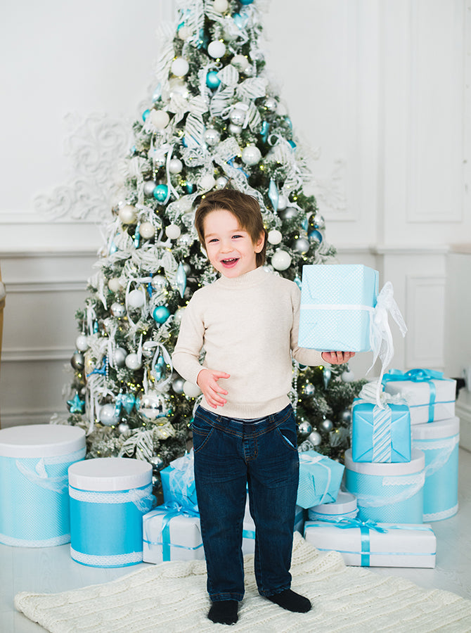 white and baby blue christmas tree theme printed backdrop modern walls and white marble floor background