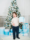 White and Baby Blue Christmas Tree Theme Printed Backdrop Modern Walls and White Marble Floor Background - 6376 - Backdrop Outlet
