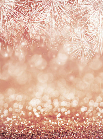 Bokeh Fireworks Background Rose Gold Printed Backdrop - 6382 - Backdrop Outlet