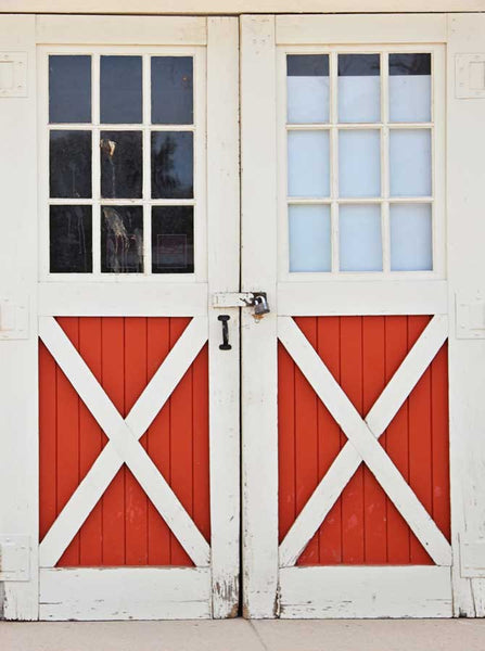 Barn Red and White Doors Backdrop - 6702 - Backdrop Outlet
