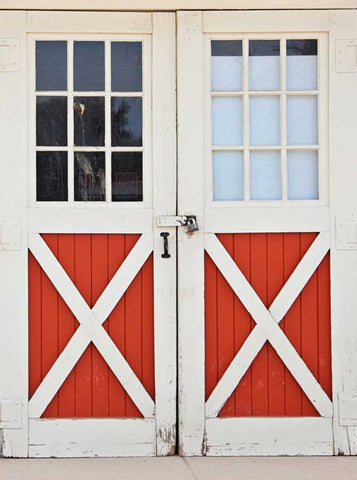 6702 Barn Red and White Doors Backdrop - Backdrop Outlet