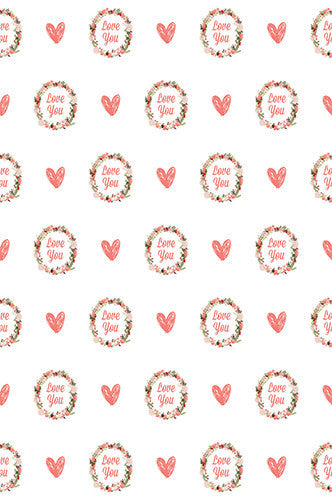 6716 Love You Hearts Pattern Printed Backdrop