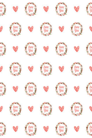 6716 Love You Hearts Pattern Printed Backdrop - Backdrop Outlet