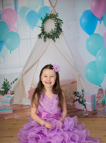 6718 Party Tent Scene with balloons Printed Backdrop - Backdrop Outlet
