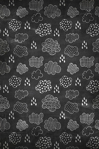 6731 Chalkboard Raining and Clouds Backdrop - Backdrop Outlet
