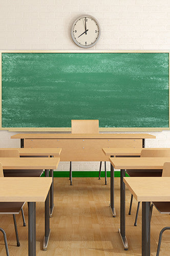 6741 Classroom Backdrop Desks And Green Chalkboard Background - Backdrop Outlet