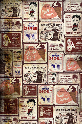 6745 Vintage Ice Cream Advertisement Backdrop - Backdrop Outlet