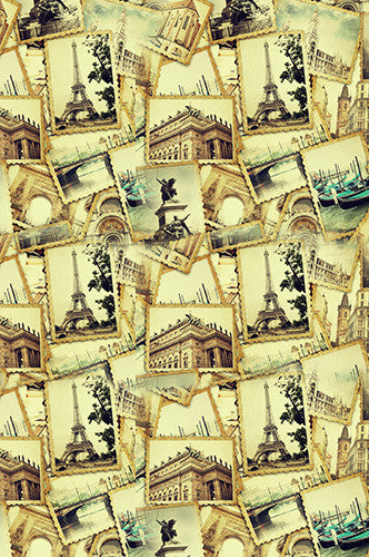 6749 Vintage Paris Stamps Backdrop - Backdrop Outlet