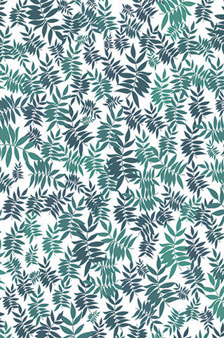 6757 Teal Leaves Printed Backdrop