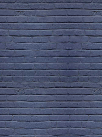 6767 Slate Blue  Brick Wall Printed Backdrop - Backdrop Outlet